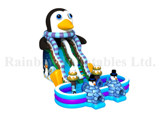 Large New Design Commercial Inflatable Penguin Water Slide with Pool for Sale