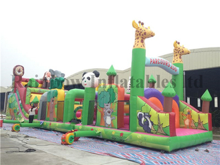 RB5007(4x16x5m)Inflatable Jungle animal kids obstacle course