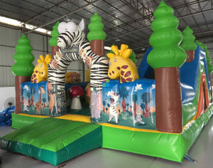 Animal Zoo Inflatable Park Safari Fun City Slide