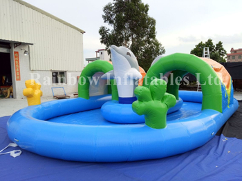 RB31045(10x6m)Inflatable Rainbow New Design Swimming Pool for sale