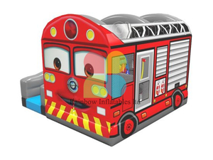 Commercial Pvc Inflatable Fire Truck Castle for Rental