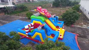 3 in 1 Race Car Inflatables Obstacle with Slide