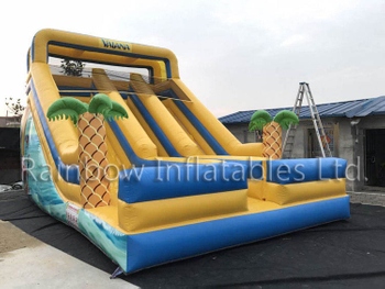 Inflatable Marine Undersea Yellow And Blue Double Slide Slide Blow Up Vaiana Slide Made by Guangzhou Rainbow Inflatables Ltd