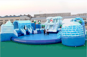 Hot Outdoor Inflatable Snow Castle Theme Water Park Above Ground Water Park for Sale