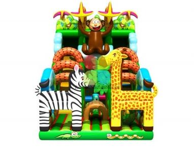 inflatable jungle theme obstacle with slide