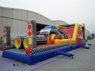 Inflatable Rainbow Race Car Obstacle Course Equipment for Sale