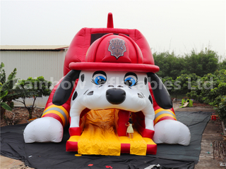 Giant 3D Fire Dog with Helmet Inflatable Dry Slide for Children Party
