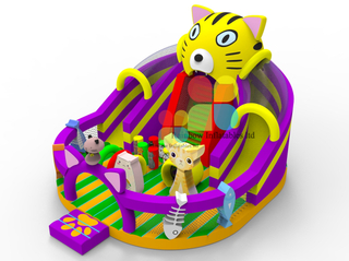 Commercial Inflatable Cat Adventure Playground by Guangzhou Rainbow Inflatables Outdoor Pvc Durable Slide Obstacle for Kids
