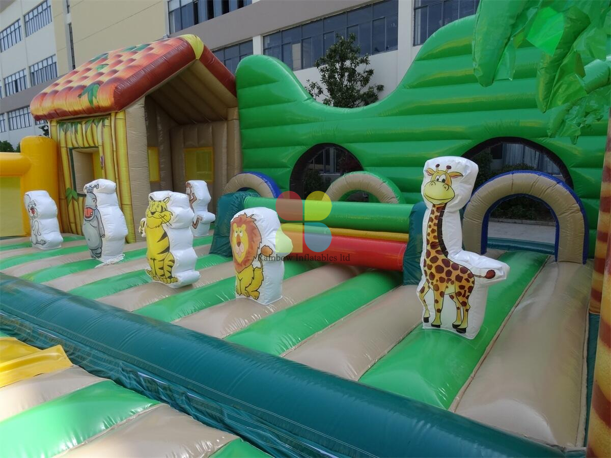 Inflatable Jungle Theme Forest Kids Indoor Outdoor Playground with 3 Lanes Slide Animal Theme Park for Kids Play