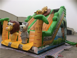 Hot Sale Kids Big Inflatable Tropical Jungle Theme Dry Slide