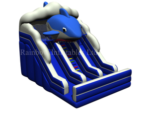 RB01052(5.5x8.5x6.2m) Inflatable Underwater Blue Shark Theme Dry Wave Slide