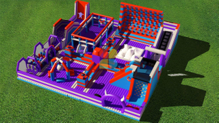 Massive indoor inflatable theme park for adults and kids