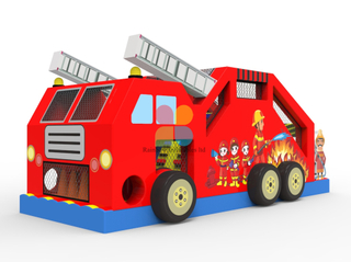 Commercial PVC Inflatable Fire Truck Moonwalk for Party