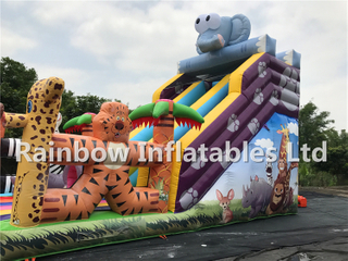 Best Quality Outdoor Commercial Inflatable Animal Theme Slide China Jungle Animal Slide Manufacturer