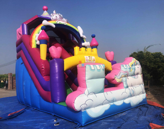Rainbow New Design Inflatable Unicorn Dry Slide