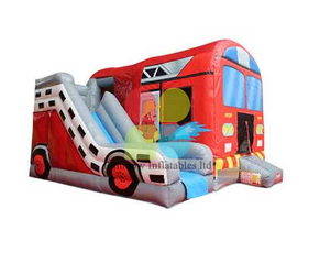 Outdoor Commercial Inflatable Fire Truck Bouncer