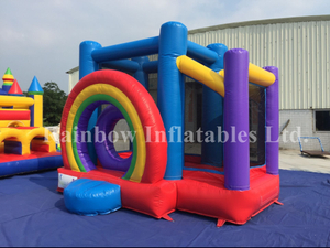 Mini Outdoor Rainbow Inflatable Bouncer for Kids
