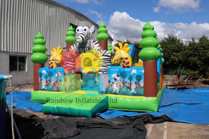 5*6m Animal Zoo Inflatable Park Safari Fun City Slide