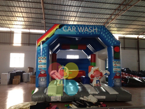 Blue Inflatable wash car advertising bouncer castle for kids