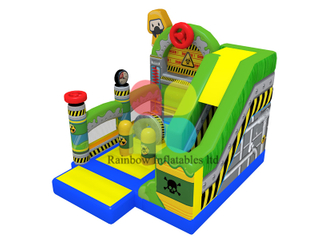 inflatable skull theme slide with obstacle boucner