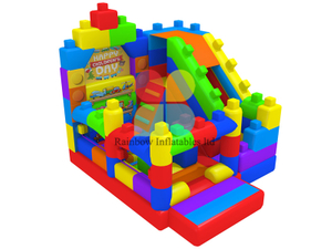 Happy Children Day Lego puzzle inflatable slide bouncy Playground
