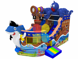 Lastest Design Inflatabe Ocean World Pirate bouncy slide boat Ship