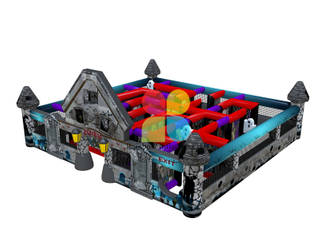 Outdoor Crazy inflatable Haunted Mansion Maze Course Game