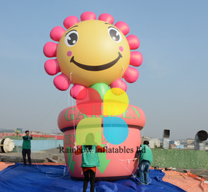 Outdoor parade flying sunsine flowers balloon, giant custom helium balloon