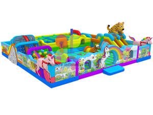 Giant inflatable theme park with inflatable obstacle course , inflatable maze funcity