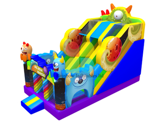 Rainbow Factory Monster inflatable Bouncy dry slide
