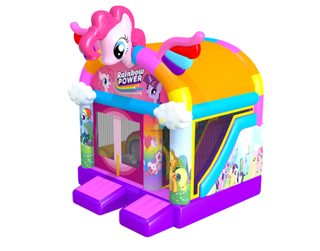 Rainbow new design inflatable unicorn bouncy castle with slide combo